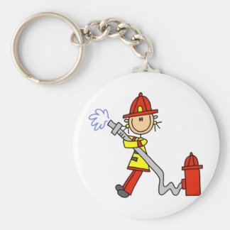 Stick Figure Firefighter with Hose Keychain