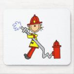 Stick Figure Firefighter with Hose Mousepad