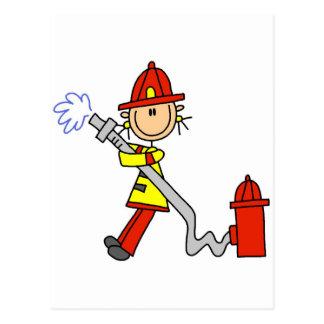 Stick Figure Firefighter with Hose Postcard