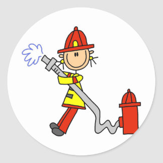 Stick Figure Firefighter with Hose Round Stickers
