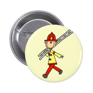 Stick Figure Firefighter with Ladder 2 Inch Round Button