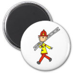Stick Figure Firefighter with Ladder Magnet Magnets