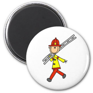 Stick Figure Firefighter with Ladder Magnet