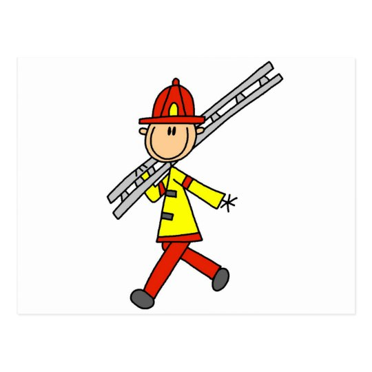 Stick Figure Firefighter with Ladder Postcard