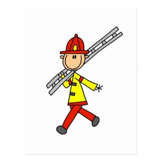 Stick Figure Firefighter with Ladder Postcard