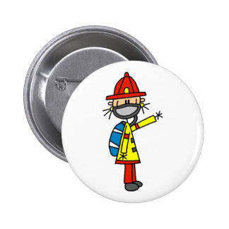 Stick Figure Firefighter with Mask Button