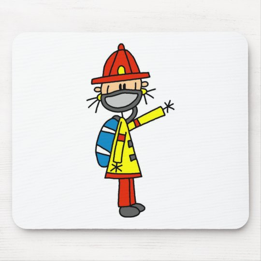 Stick Figure Firefighter with Mask Mousepad
