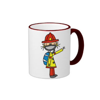 Stick Figure Firefighter with Mask Mug
