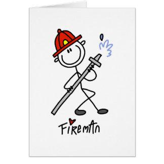 Stick Figure Fireman Card