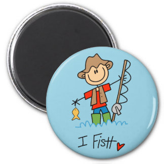 Stick Figure Fisherman Magnet