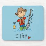 Stick Figure Fisherman Mouse Mats