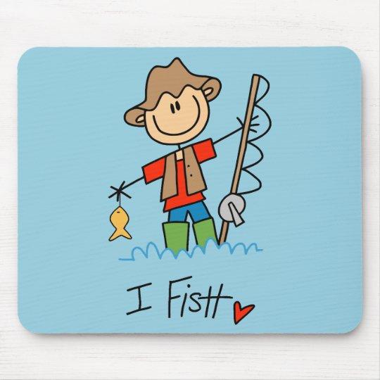 Stick Figure Fisherman Mouse Pad