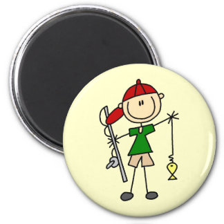 Stick Figure Fishing Tshirts and Gifts 2 Inch Round Magnet