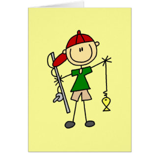 Stick Figure Fishing Tshirts and Gifts Card