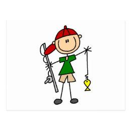 Stick Figure Fishing Tshirts and Gifts Postcard
