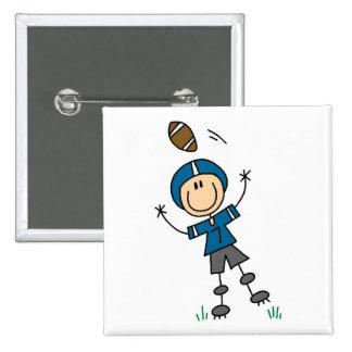 Stick Figure Football Blue Pinback Button