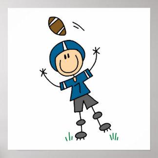 Stick Figure Football Blue Poster