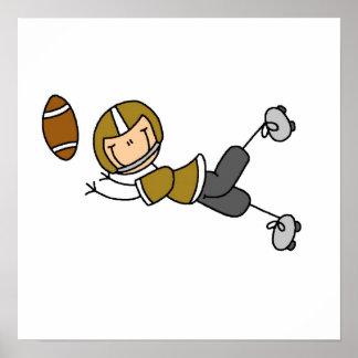 Stick Figure Football Gold Poster