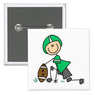 Stick Figure Football Green Pinback Buttons
