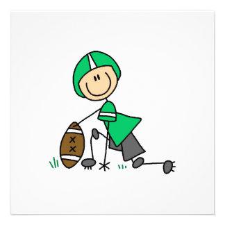 Stick Figure Football Green Personalized Invites