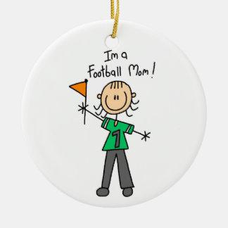 Stick Figure Football Mom Ceramic Ornament