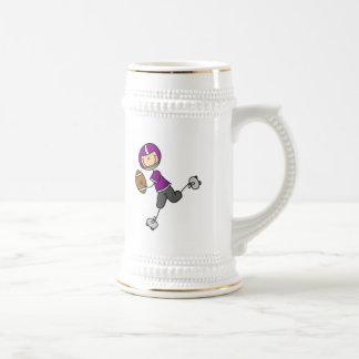 Stick Figure Football Purple Beer Stein