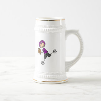 Stick Figure Football Purple Mugs
