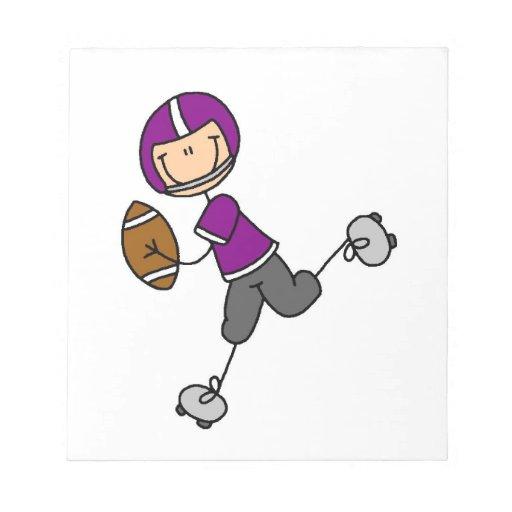 Stick Figure Football Purple Note Pad