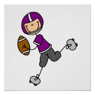 Stick Figure Football Purple Poster