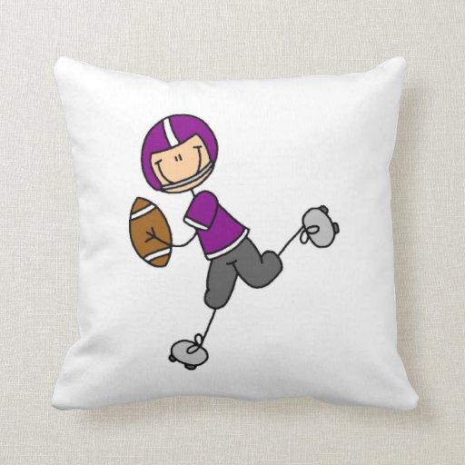 Stick Figure Football Purple Throw Pillows