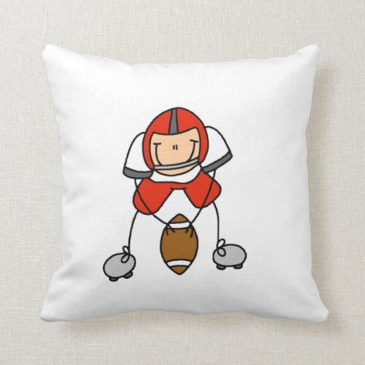 Stick Figure Football Red Throw Pillow