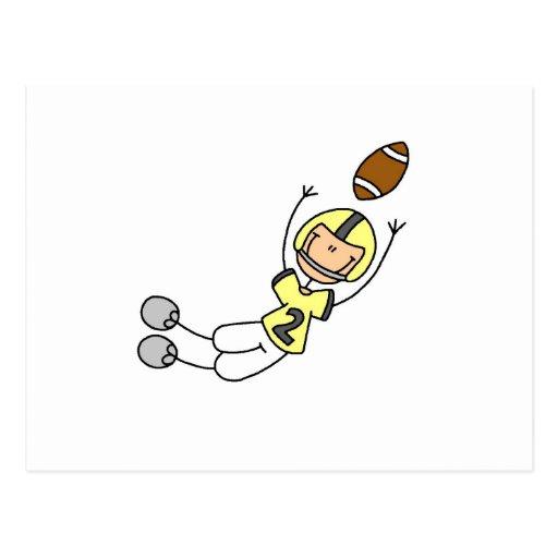 Stick Figure Football Yellow Postcard