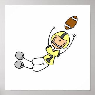 Stick Figure Football Yellow Poster