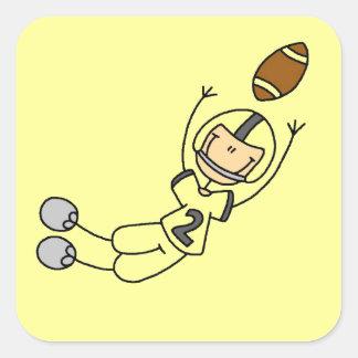 Stick Figure Football Yellow Square Sticker