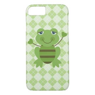 Stick Figure Frog w/Argyle Background iPhone 7 Case