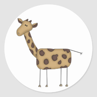 Stick Figure Giraffe Tshirts and Gifts Classic Round Sticker