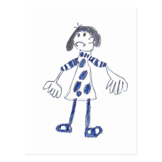 Stick Figure Girl Asks for Hug Postcard