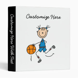 Stick Figure Girl Basketball Player Tshirts 3 Ring Binders