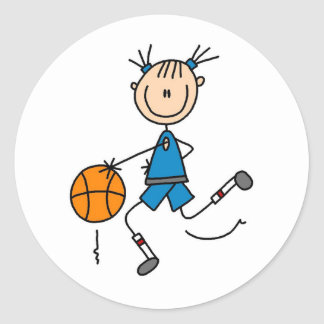 Stick Figure Girl Basketball Player Tshirts Classic Round Sticker