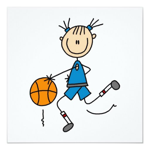 Stick Figure Girl Basketball Player Tshirts 5.25x5.25 Square Paper Invitation Card