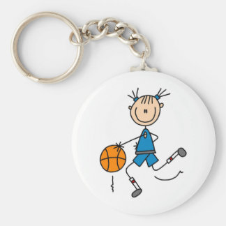 Stick Figure Girl Basketball Player Tshirts Keychain