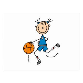 Stick Figure Girl Basketball Player Tshirts Postcard