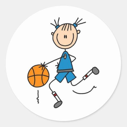 Stick Figure Girl Basketball Player Tshirts Classic Round Sticker