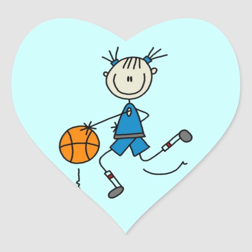 Stick Figure Girl Basketball Player Tshirts Stickers