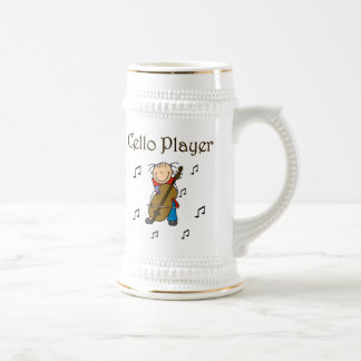 Stick Figure Girl Cello Player T-shirts and Gifts 18 Oz Beer Stein