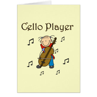 Stick Figure Girl Cello Player T-shirts and Gifts Card