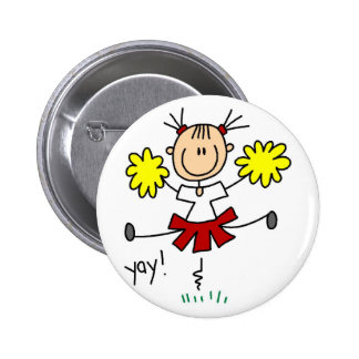 Stick Figure Girl Cheerleader Tshirts and Gifts Buttons