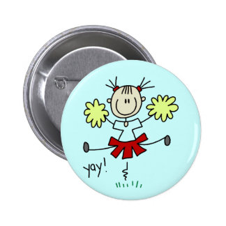 Stick Figure Girl Cheerleader Tshirts and Gifts Button