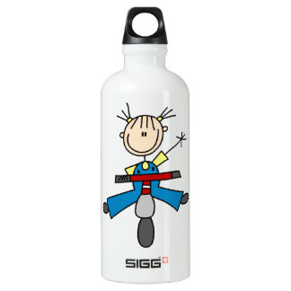 Stick Figure Girl Driving a Scooter Aluminum Water Bottle
