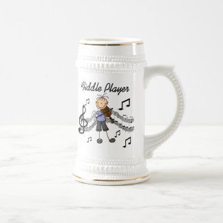 Stick Figure Girl Fiddle Player Tshirts and Gifts 18 Oz Beer Stein